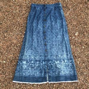 Soft surroundings maxi denim skirt